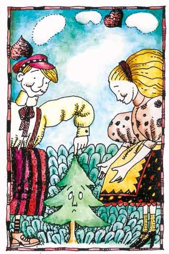 Andersen, L'abete, libro illustrato per bambini, Le rane Interlinea