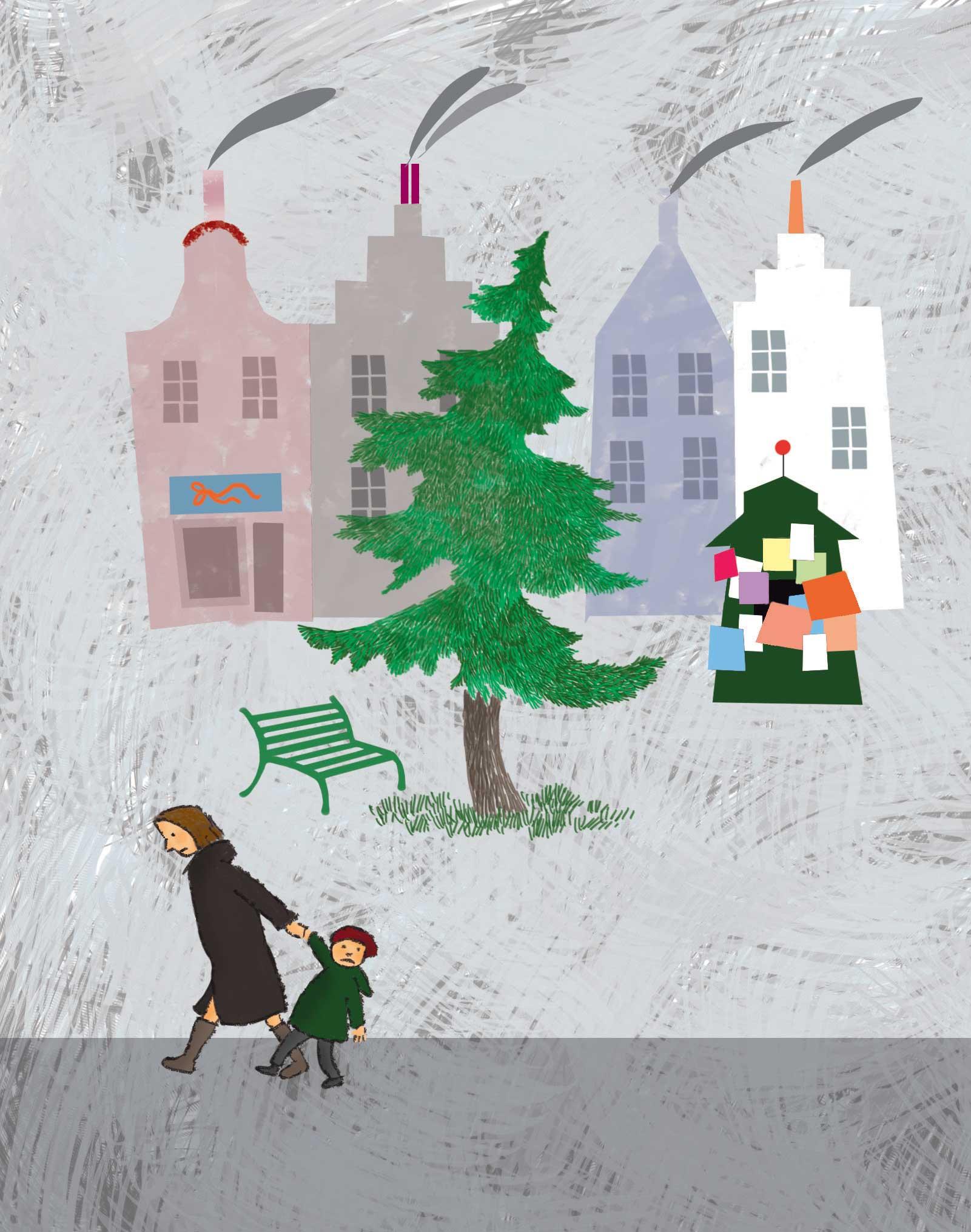 Bussolati, Piazzetta Natale, libro illustrato per bambini di Natale, Le rane Interlinea