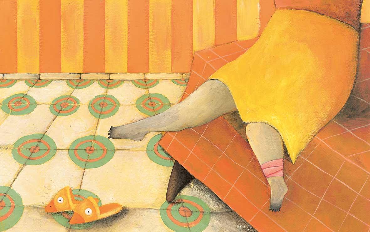 Lavatelli, Una gamba dispettosa, libro illustrato per bambini, le rane interlinea