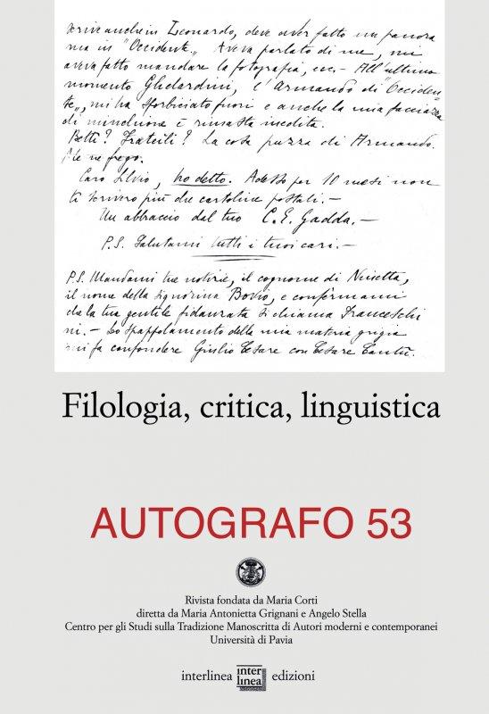 Filologia, critica, linguistica